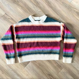 AE Striped Rainbow Chunky Knit Sweater Cropped M